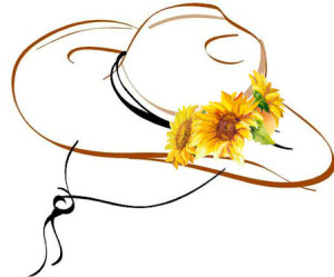 Hat with Sunflowers at WildWestPaperArts.com
