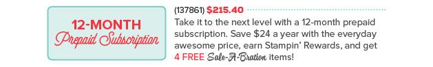 12 month Prepaid Paper Pumpkin Special 2016 at WildWestPaperArts.com