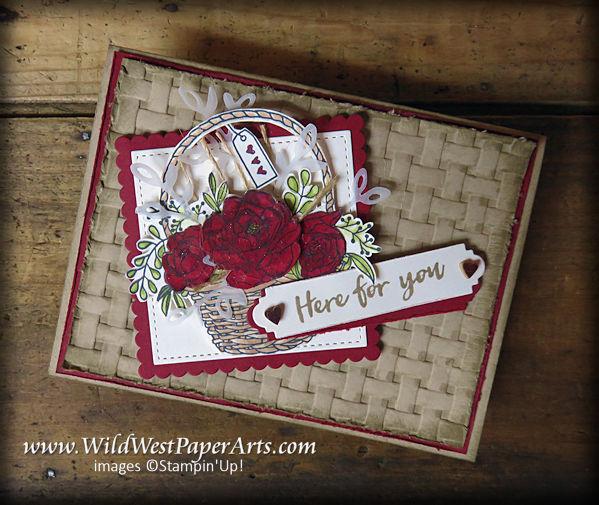 Blended Brusho Basket of Blooms at WildWestPaperArts.com